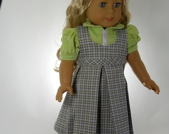 18 inch doll clothes, School Uniform, Light Green Blouse and Lavender Plaid Jumper, 06-0290