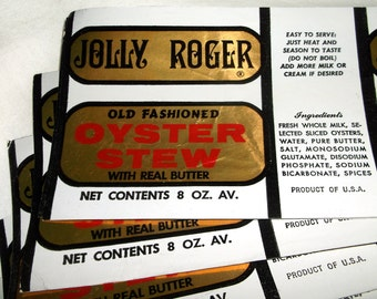 Vintage JOLLY ROGERS Oyster Stew Can / Jar Paper Label Lot • 11 count