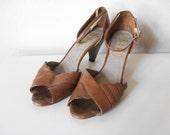 80's Caramel Brown Leather Va Eli Peep Toe Sandals, Size 8.5