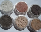 Light Shades of Everyday Wearable Browns Vegan Mineral Eye Shadows, Birthday Gift, Makeup Set of six