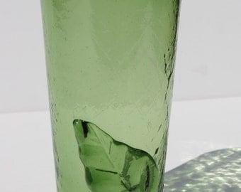 Vintage Mid Century Blenko Crackle Glass Applied Leaf Green Highball Hi-Ball Tumbler