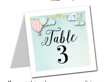 Table Number Cards, Buffet Food Cards, Table Signs, Wedding, Baby Shower, Bridal Shower, Birthday, Pastel Hot Air Balloons, Flat or Tent