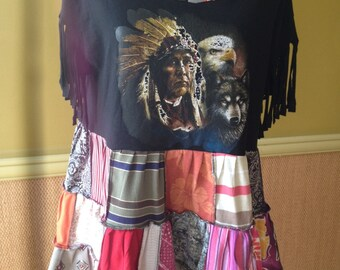 Harry and The Hippe Chic One of A Kind Boho Off The Shoulder Fringe Sleeve Patchwork Tunic Top