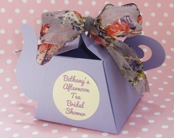 Teapot Favor Box in Pastels with Floral Ribbon & Personalized Label, set of 10