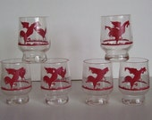 Vintage Red Road Runner 2 ounce Glasses, Red Chicken Running, Australia, Bar Glasses, Home Bar, Bar Accessories, Juice Glasses, On the Rocks