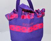 Purple Personalized Ruffle Bag with Name Embroidered on it, Ruffle Polka Dot Ribbon. Dance Bag, Princess Bag, Easter Basket Bag