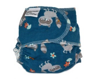 Cloth Diaper Fitted, One Size, Raccoon, Flannel - Add Snaps, Hook and Loop, or Pins