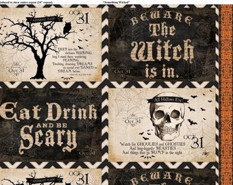 Something Wicked Halloween Edgar Allan Poe Wilmington Fabric 4 Placemat Panel