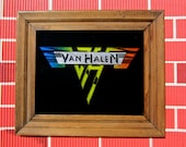 Classic Van Halen Carnival Artwork Silk Screened Glass & Glitter