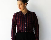 Vintage Navy Blouse / Red Chain Print / Size M L