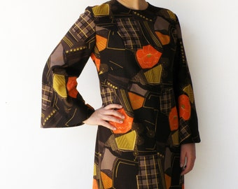 Vintage Novelty Dress / 1970s Brown Midi Dress / Size L