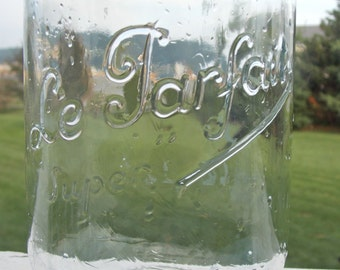 French Country Vintage Glass Canning Jar Made In France