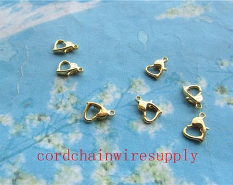 high quality 50pcs 12mm bright gold heart shape lobster clasps lead free --pefect for necklace cords and your charms