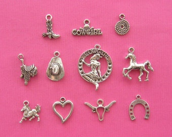 The Cowgirl Collection - 11 different antique silver tone charms