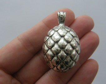 1 Dragon egg charm antique silver A78