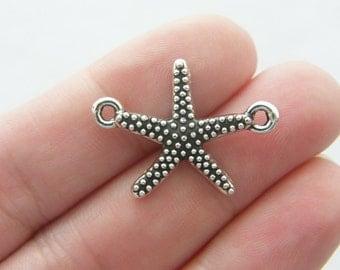 BULK 30 Starfish connector charms antique silver tone FF279