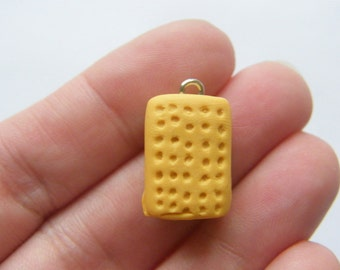 2 Biscuit charms 13 x 20mm resin