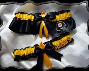 Black Satin Ribbon Wedding Garter Set Made with Pittsburgh Steelers Fabric