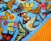 Handmade Cotton Pillowcases - Set of 2 Standard Size - Butterflies - Blue and Orange - Bridal Shower or Hostess Gift - Butterfly Lover Gift