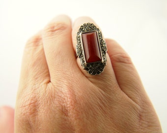 Deco Carnelian Marcasite Ring - Sterling Silver - Vintage