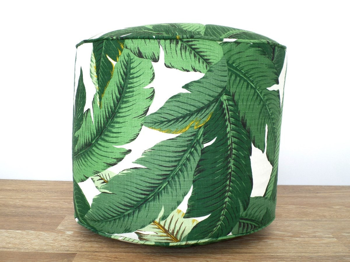 Tropical Green Pouf Ottoman Outdoor Pouf Swaying Palms