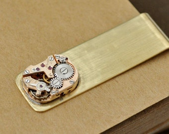 TIME IS MONEY solid brass money clip with vintage rose gold tone watch movement