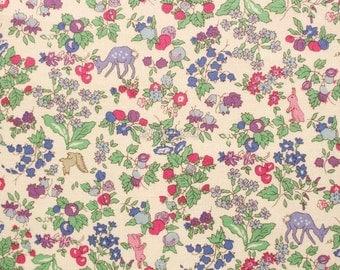 Liberty tana lawn printed in Japan -  Nancy animal - Rose navy mix