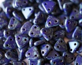 6mm CzechMates Triangle Beads - Navy Blue Czech Mates Triangle - Opaque Navy Picasso -  Picasso Czech Glass Beads - Two Hole Beads