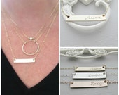 Gold Bar Necklace, Personalized Name Bar Necklace , Name Plate Necklace, 14k Gold Fill Bar, Silver, Gold & Rose Gold, Von Meyer Jewelry