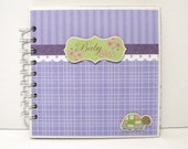 BabyThemed 6x6 Premade Mini Scrapbook Album, Boy or Girl, Purple and Green