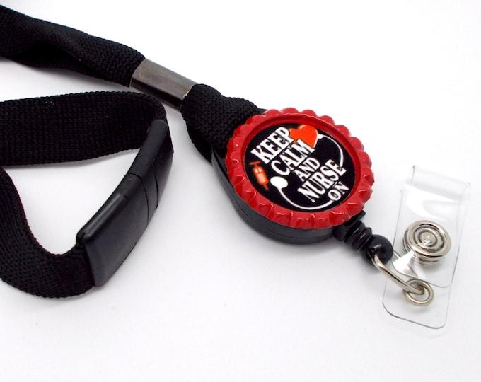 Keep Calm and Nurse On Lanyard Red - Nursing ID - Nurse Lanyard - NICU Lanyard - Nurse Badge Holder - RN Badge Holder - Name Tag Holder