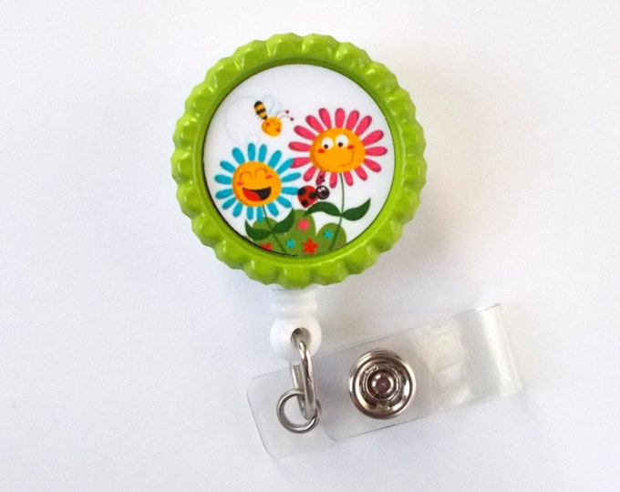 Smiling Daisies - Flower Badge Holder -  Nursing Badge Holder - ID Badge Reel - Nurse ID Badge Clip - Teacher Badge - Dental Assistant Badge
