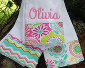 Personalized burp cloth, Personalized baby girl burp cloth set, Monogrammed burp cloth, monogrammed burb cloth set,