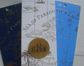 Gold Foil on Navy, White, Sailor Blue World Map Bookmarks