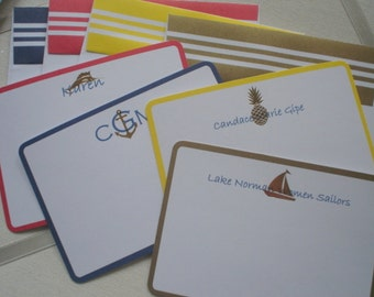 Nautical Themed  Flat with Gold Foil Detail and Striped Trim Envelopes Eight  for Five