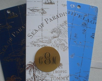 Gold Foil on Navy, White, Sailor Blue World Map Bookmarks