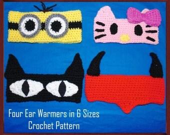 Four Ear Warmers in 6 Sizes Crochet Pattern - Instant Download