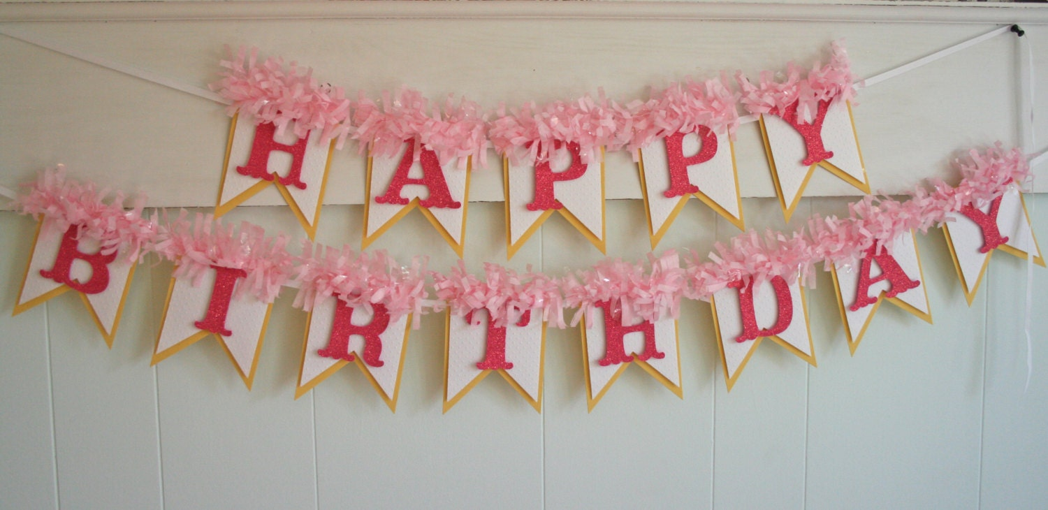 yellow and pink birthday banner happy birthday banner