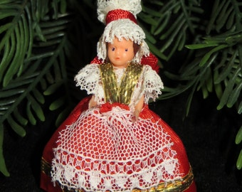 Vintage Miniature Ethnic Doll 2 inch Hungarian Ornament