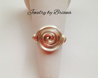 Swirl Wire Wrap Ring with Square Wire