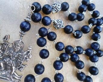 Sparkly  Dark Blue  Kali Pendant  Kali Necklace  Kali Ma  Mala Necklace  Mala Beads Goddess Necklace  Hindu Goddess  Free Shipping  Ethnic
