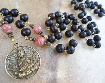 Mala Necklace  Mala Beads  Buddha Necklace  Buddhist Mala  Yoga Inspired  Meditation  Lifetime Guarantee  Zen  Loving Kindness Yoga Necklace