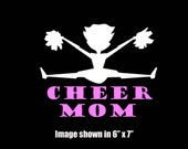 Large Cheerleader and CHEER MOM vinyl car decals