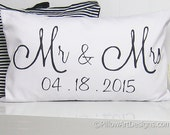White Lumbar Pillow 12 X 18 Couples Engagement Wedding Anniversary Black and White Made in Canada