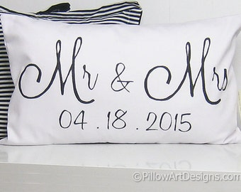 Engagement Wedding Anniversary White Lumbar Pillow 12 X 18 Couples Black and White Made in Canada