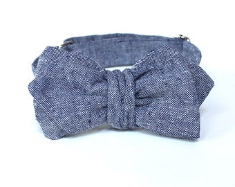 Men's Bow Tie -  Blue Linen - Freestyle Butterfly or Diamond Point Bowtie - Adjustable - In Stock
