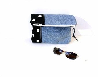 Foldover clutch, color block, polka dots, recycled denim purse, black white, small Autumn bag, zipper pouch, blue jeans bag