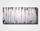 Original Large Abstract Braille painting - 18 X 36 Inches-by Artist JMJartstudio- FAITH -Wall art-wall decor - Black and White Custom