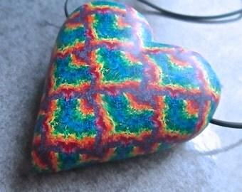 Tie-Dye Necklace, Heart Pendant, Polymer Clay Bead, Millefiori Pendant, Handmade Focal Bead, Custom Jewelry, Chevron Pendant, Wearable Art