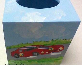 racing car themed tissue box,boys room decor,nursery room decor,racing cars,racing car theme,car theme,tissue box cover,boys tissue box